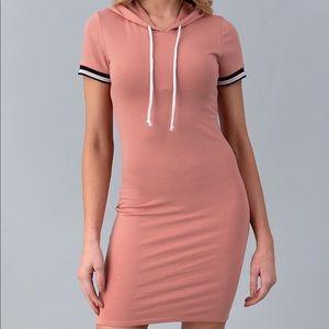 BLUSH PINK DRESS W/ HOOD